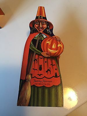 Vtg Antique Fanny Farmer Halloween Witch Jol Cardboard Candy Container 1950