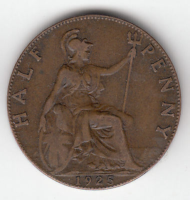 Gb 1/2D 1925 Old Type Copper    251K              By Coinmountain