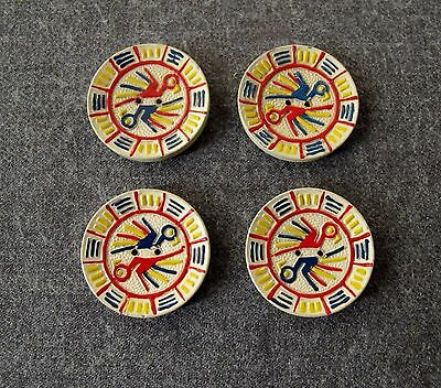 4 Vintage 70's Painted Blue Yellow & Red White Wooden Ethnic Buttons Peru Unused