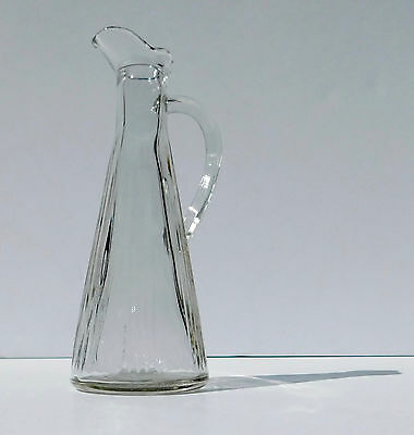 Antique Clear Early American Pattern Glass Cruet Decanter ~Ribbed Flared Tapered