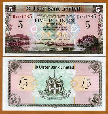 Ireland Northern, Ulster Bank, 5 pounds, 2013, P-340, Scrace prefix D, UNC