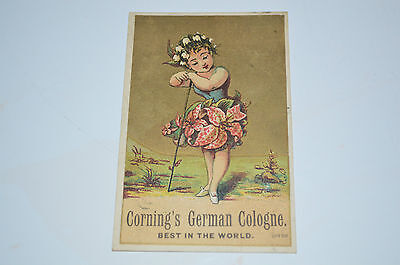 Old Victorian trade card advertising Cornings German Cologne Reliable