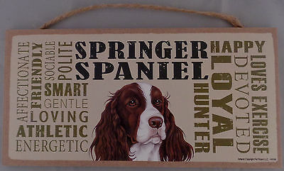 SPRINGER SPANIEL Subway Style  5 X10 hanging Wood Sign made in the USA