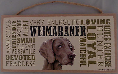 Weimaraner Subway Style  5 X10 hanging Wood Sign made in the USA