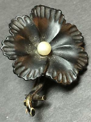 Victorian Era Blackened and Goldtone Flower Mourning Pin