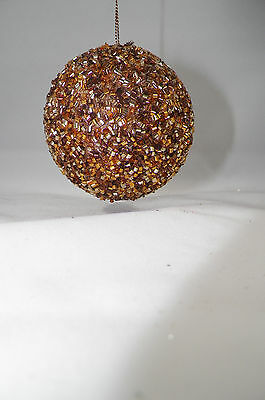 Brown and Gold Beaded Ball Christmas Tree Ornament new holiday