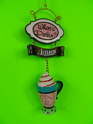 What's Perkin? Latte Coffee Cup Christmas Tree Ornament new
