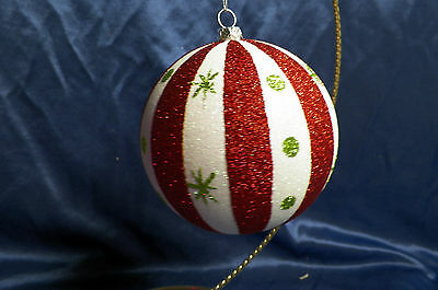 Glittered Red and White Ball with Snowflakes Christmas Tree Ornament new
