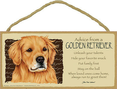 Advice from a GOLDEN RETRIEVER 5 X10 hanging Wood Sign MADE IN THE USA!