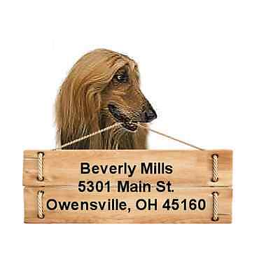 Afghan Hound return address labels die cut to shape of dog and sign