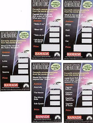 10 different Star Trek Generations movie 1995 Ramada scratch cards *Unscratched*