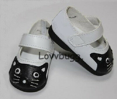 """White & Black Kitty Cat Shoes for American Girl 18"""" Doll Clothes & Baby 15"""" LOVV"""