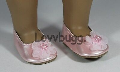 """Sweet Flower Flats Pink for American Girl 18"""" Doll Shoes  Exclusive LB Design!"""