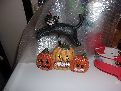 2004 Susan Winget Bethany Lowe Black Cat and Pumpkins Decoration - MINT