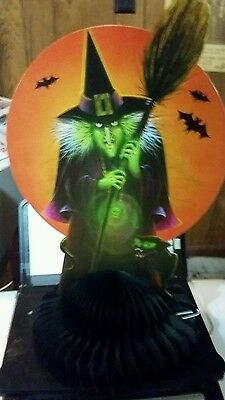 Low Ship! 1 Beistle Halloween��Vintage Style Wicked Witch-Black Cat��Centerpiece