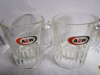 a & w lot of 8 vintage root beer glasses soda pop 4 large 4 small