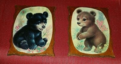Adorable Retro Vintage Black Bear Cub Cubs Wall Art Nursery Child's Room Decor