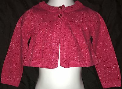 Carter's Sweater, Cropped, Long Sleeve, Cardigan, Sparkle, Pink, Girls, 2T