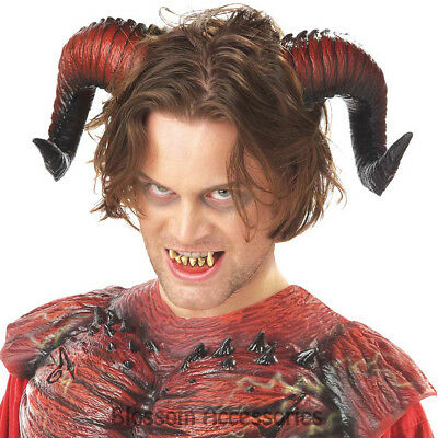 A638 Adult Child Horns Demon & Teeth Halloween Horror Party Costume Accessory