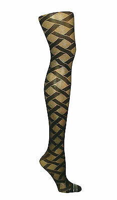 New Womens Black Patterned Tights Plus Size Xxl 20-24 R19