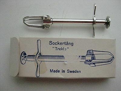 Old Silverplated Mechanical Sugar Tongs Triplex Treklo. MADE IN SWEDEN