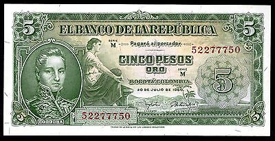 Colombia. Five Pesos, M 52277750, 20-7-1960, Nearly Extremely Fine.