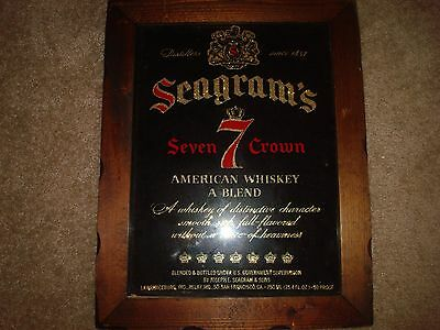 Seagrams Seven 7 Crown Whiskey Wood Framed Signed