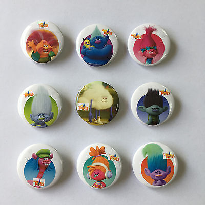18pcs Trolls Pin Buttons Round Badges 30mm as Kids Christmas Party Gift