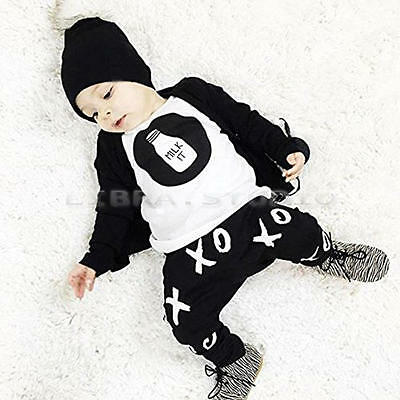 Hot Casual Infant Kids Baby Boys Overall Outfits T-shirt Tops+Pants 2PCS 1-2 Y