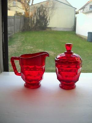 Ruby Red Viking Georgian Creamer And Lidded Sugar Bowl With No Found Faults, EC