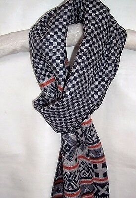 Mens Cashmere Feel Scarf Reversible Dark Blue Grey White Multi Design Frayed End