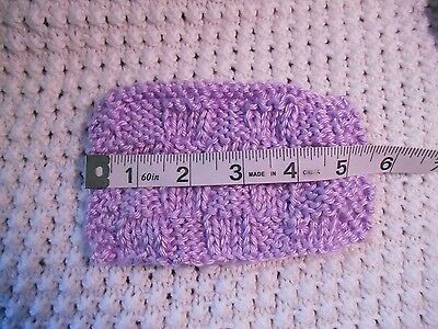 "Mini Hand knitted Blanket-rug 5in x 3""  lilac-lavender for ooak doll-house"