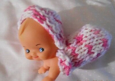 "Doll Clothes knitted spring pink Baby cocoon bunting fit 5"" Kewpie piano doll"