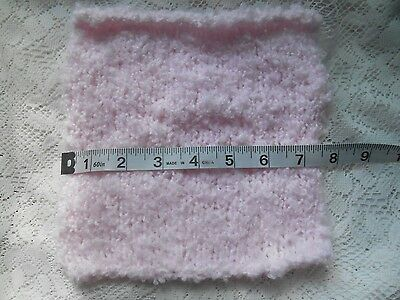 "Mini Hand knitted Blanket-rug 8 in x 8""  pink boucle for small dolls"