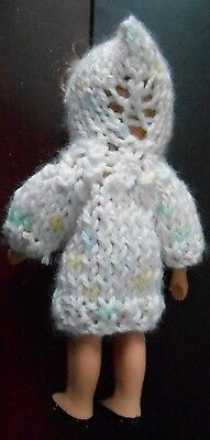 "Doll Clothes Hand knitted White w spots sweater with hood - fit Mary Ann 5"" 6in"