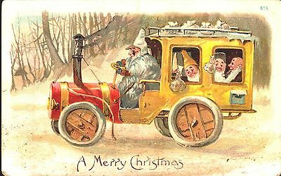 Embossed Postcard Christmas, Gnomes In Old Jalopy, Bus