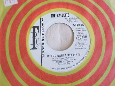 The Raelets 'If You Wanna Keep Him' US Tangerine promo soul 45