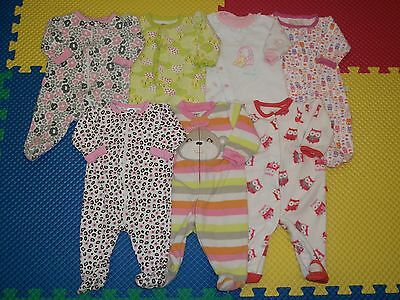 Lot 7 Baby Girl Footed Sleepers PJ Sleepwear Clothes 0-3 m months Carters/Gerber