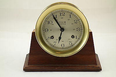 Vintage Brass Elgin Ships Bell Clock With Wood Stand & Key