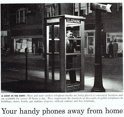 Vintage Ad ~ 1958 Bell TELEPHONE ~ Obsolete Phone Booth - A Light in the Dark