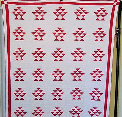 Aa+ Classic Red And White Antique Basket Quilt  1900 Hand Pieced Hand Quilted