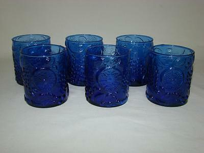 Cobalt Blue Glass Beverage Drinking Glasses Tumblers 10 oz. Lot of 6