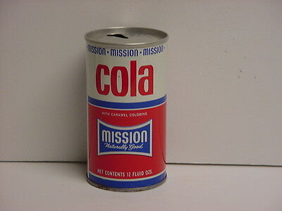 Vintage Mission Cola Straight Steel Pull Tab Top Opened Soda Can