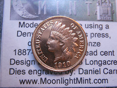 Daniel Carr 1910-D OVERSTRIKE ON REAL INDIAN HEAD CENT - PROOF LIKE FINISH
