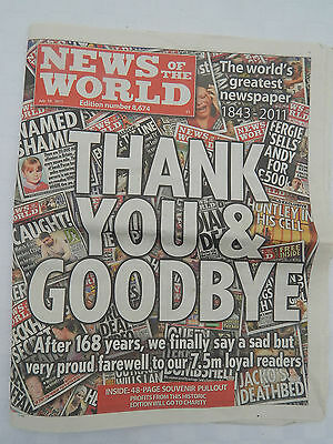 LAST EVER PRINTED EDITION OF THE NEWS OF THE WORLD DATED JULY 10th 2011