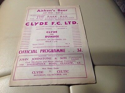 Clyde V Dundee Saturday September 1952 Division A Scottish League