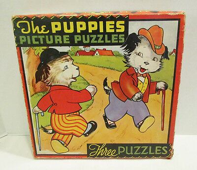 Saalfield 1941 The Puppies Picture Puzzles Boxed Set Of 3 Puzzles Complete Cute!