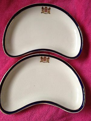Side Plates X2 Kidney Shaped Server dish bOOTH'S Lion Shield Stamp Pattern