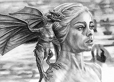 ORIGINAL ACEO sketch card GAME OF THRONES Emilia Clarke MOTHER OF DRAGONS