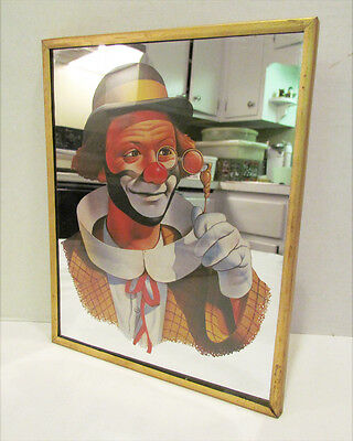 Circus Clown W/ Glasses & Derby Hat Vintage Framed Mirror Artwork Wall Hanging